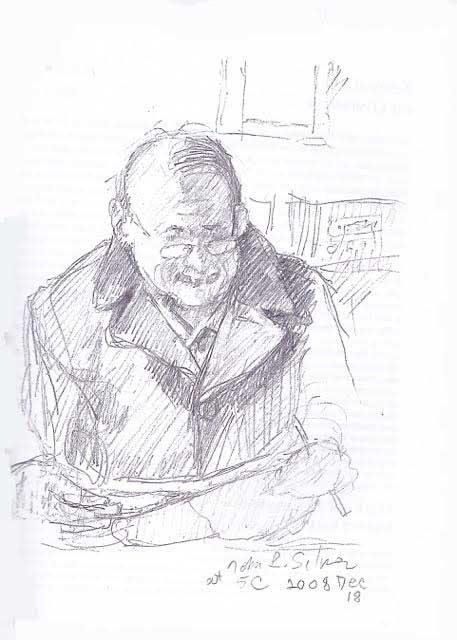"""Arnie: drawing by John Silver (enjoy John's poetry in the reading, """" Twelve Poems """")"""