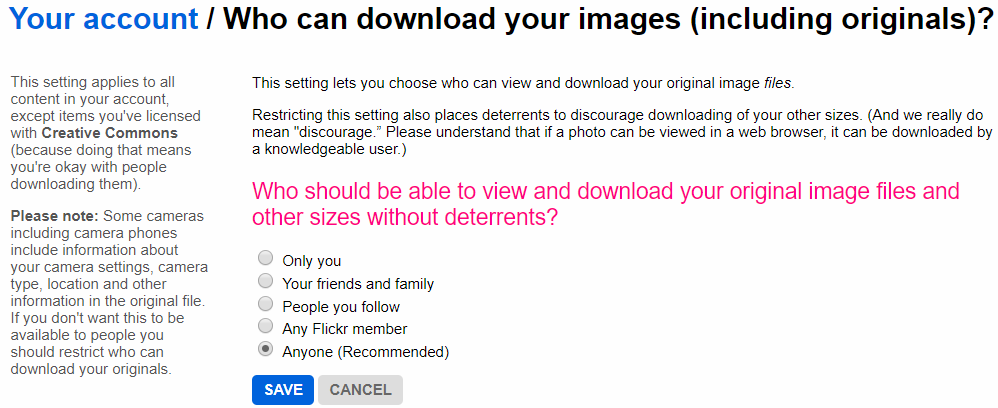 The Flickr image permissions settings page.