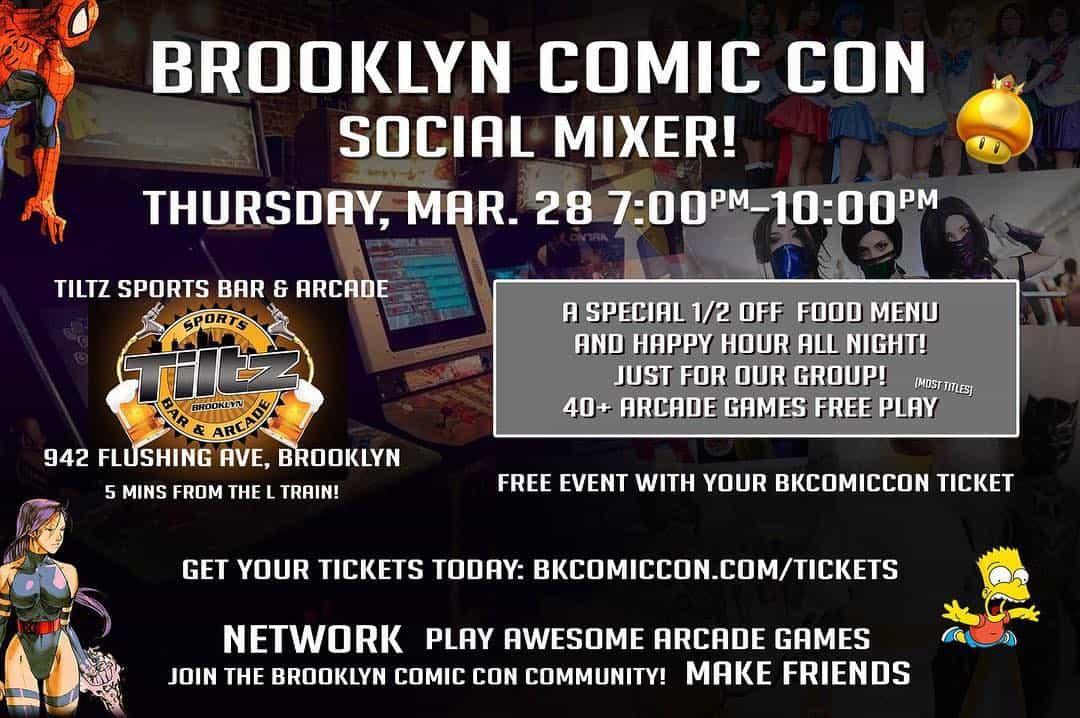 Brookyln Comic Con Social Mixer event flyer
