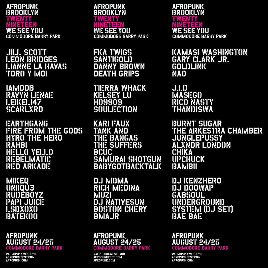 Afropunk Festival 2019 Events Flyer Featuring Full Lineup
