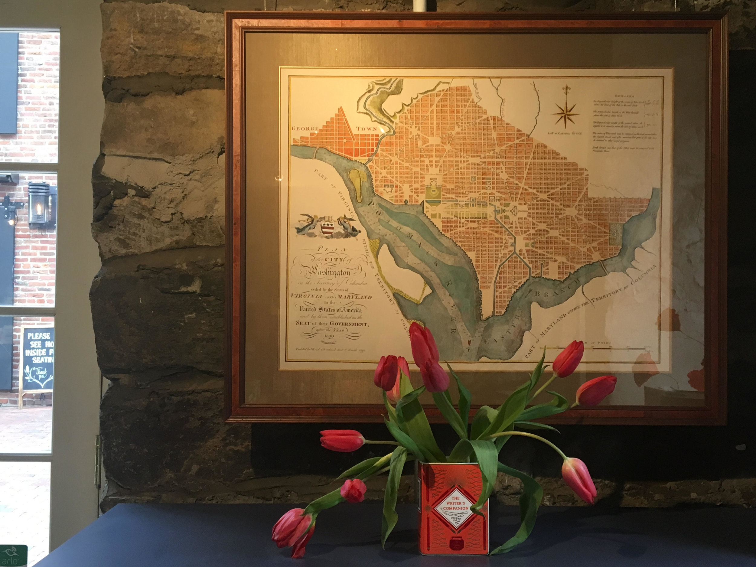 One of our friend Todd Healey's beautifully hand-painted maps here at the shop