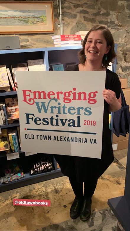 Ally revelaing the logo for the Emerging Writers Festival!