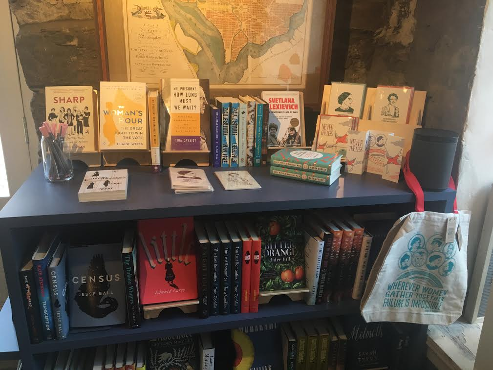 Our Women's History month display at the front of the shop, featuring a curated selection of books and gifts!
