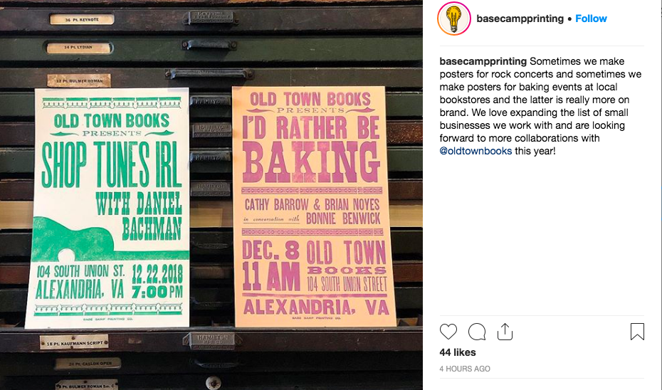 An Instagram post from Base Camp featuring two of the posters they've made for us - check them out on  their website  or on Instagram  @basecampprinting !