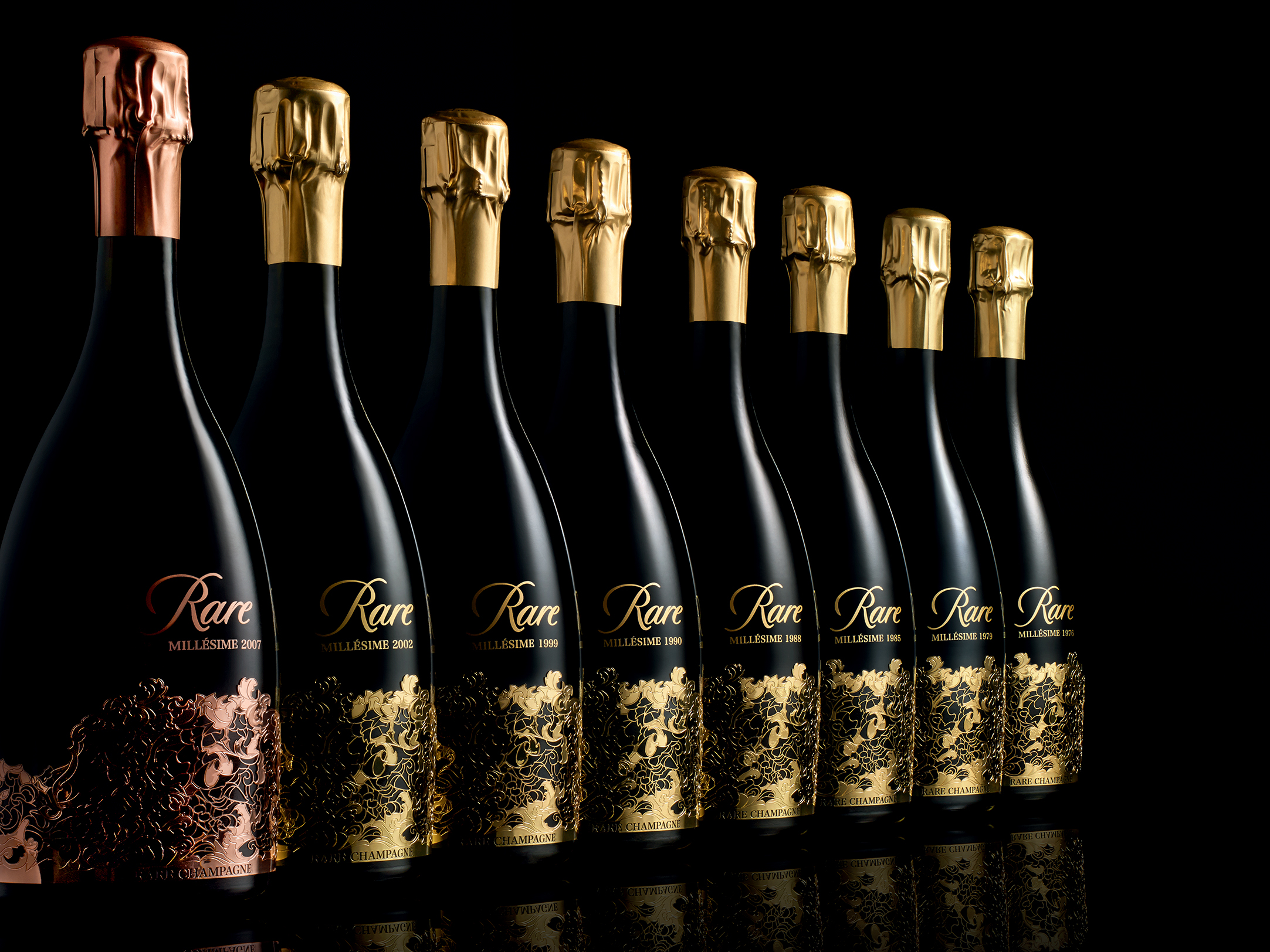 vintages - Truly an extraordinary occurrence, only nine vintages of Rare Champagne have been created in the last 4 decades: 1976, 1979, 1985, 1988, 1990, 1998, 1999, 2002, and Rare Rosé Millésime 2007.
