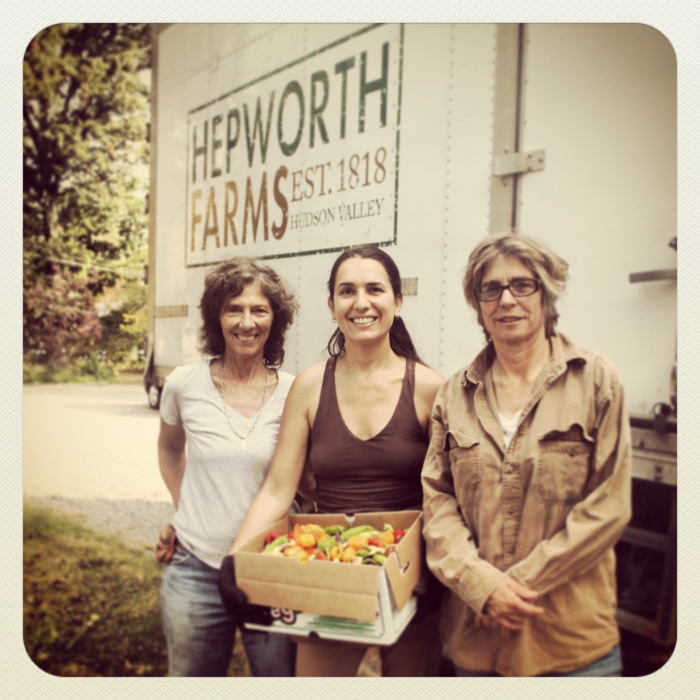 Amy & Gerry from Hepworth Farms with MCFC Coordinator Gwen Charles.