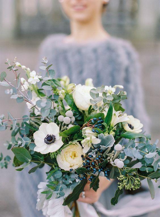 Icy Anemone Bouquet - via Pinterest