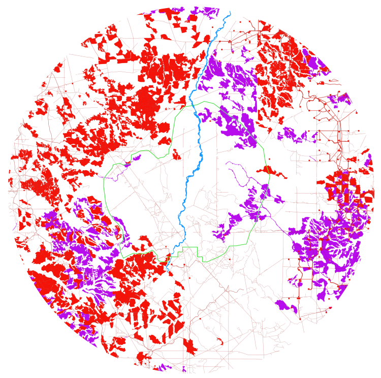 A 15km radius surrounding the proposed protected area (bordered in green). Fragmented areas are shown as red (pre-2014) and purple (after 2014).