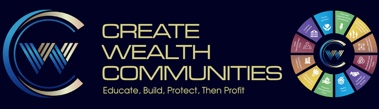 Create Wealth Communities Banner/Logo - USA CBD Expo 2019