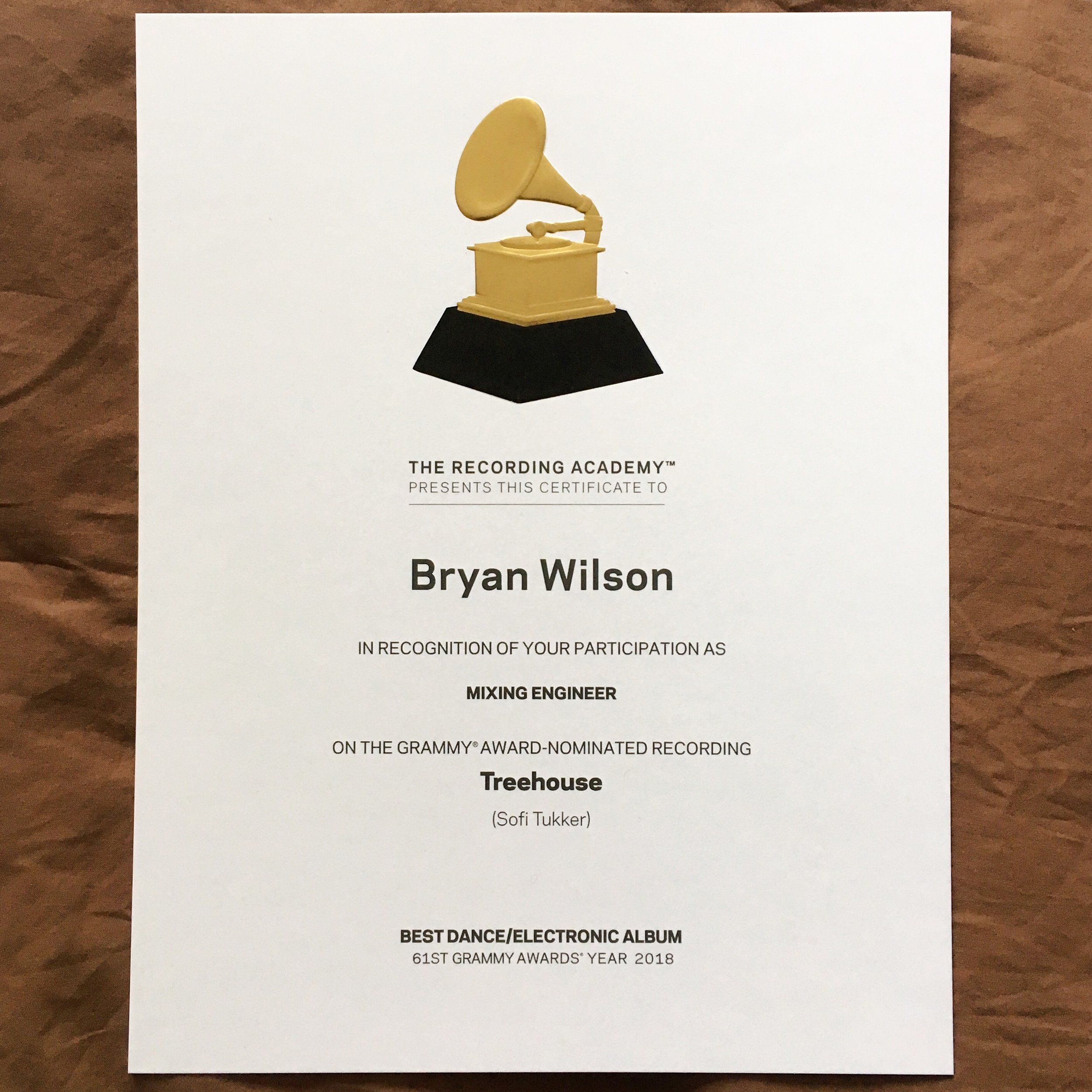 Bryan Wilson Treehouse Grammy Awards