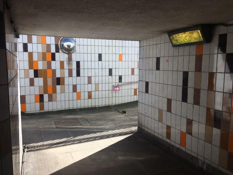Under the A41: follow the arrow.