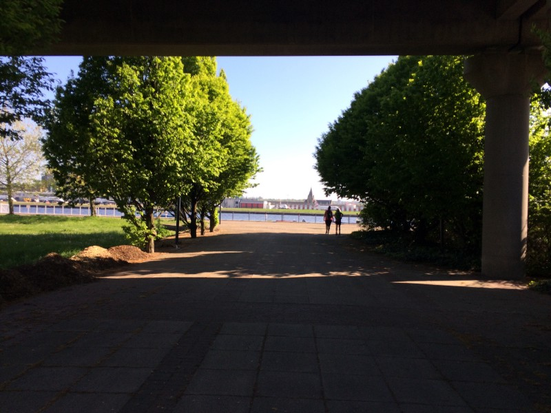Through the shade of the DLR, the blue of the dock.