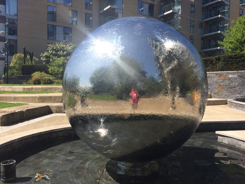Self-portrait in Woodberry Park water-feature.