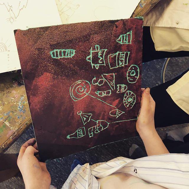 Herlig dag med de små på Skovbo Billedskole #grafik #børnekunst