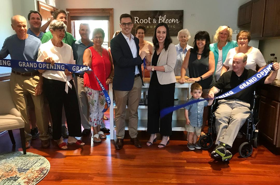 Root and Bloom Chiropractic is now open for business! The Clarendon Hills Chamber of Commerce, local village officials and friends celebrated a Ribbon Cutting Grand Opening over the summer!  140 Burlington Ave. Clarendon Hills, IL 60514   T:  (630) 537-1781