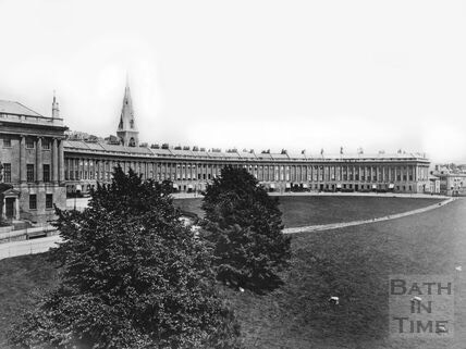 ©Bath in Time  Royal Crescent with the spire of St Andrews Church before the Blitz