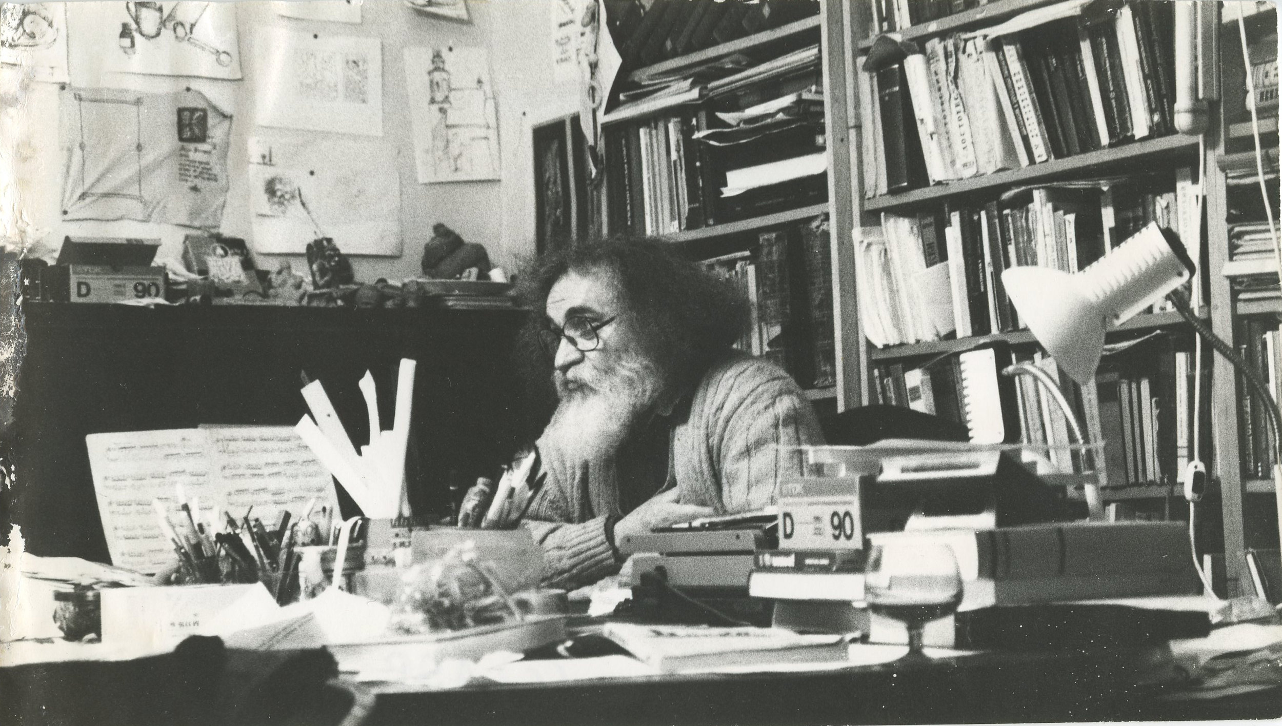 Gyula Kiraly in his study, Budapest