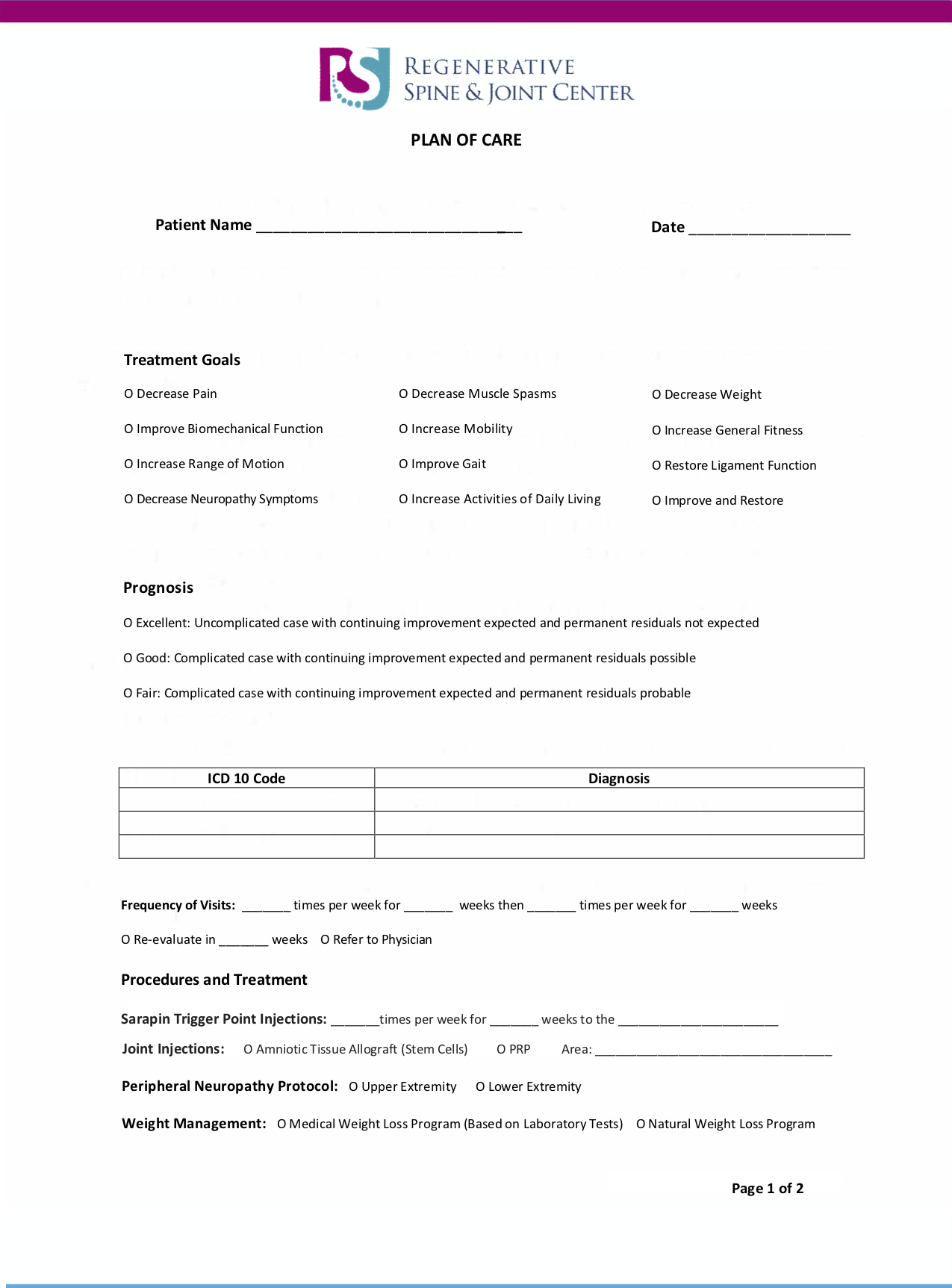 Plan of Care Form -