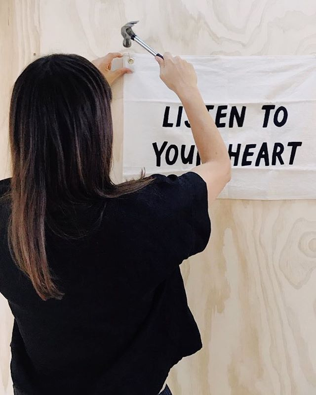 "Listen to Your Heart (Part One) . As soon as I saw this I knew I had to hang it on the wall of my writing studio. (Yes—an actual writing studio! More on this soon.) In the midst of ever-swirling doubts and insecurities, its message calms me. ""Listen to your heart"" holds the answer to so many questions. .