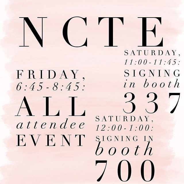 Houston, here I come! Hope to see many of you at NCTE.
