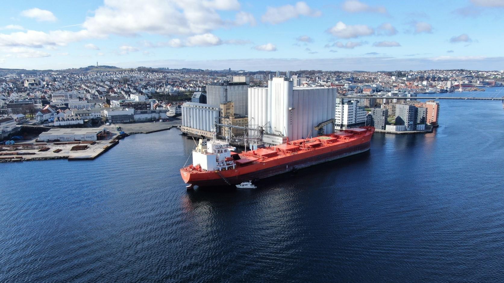 The MV Bakkedal docked in Stavanger