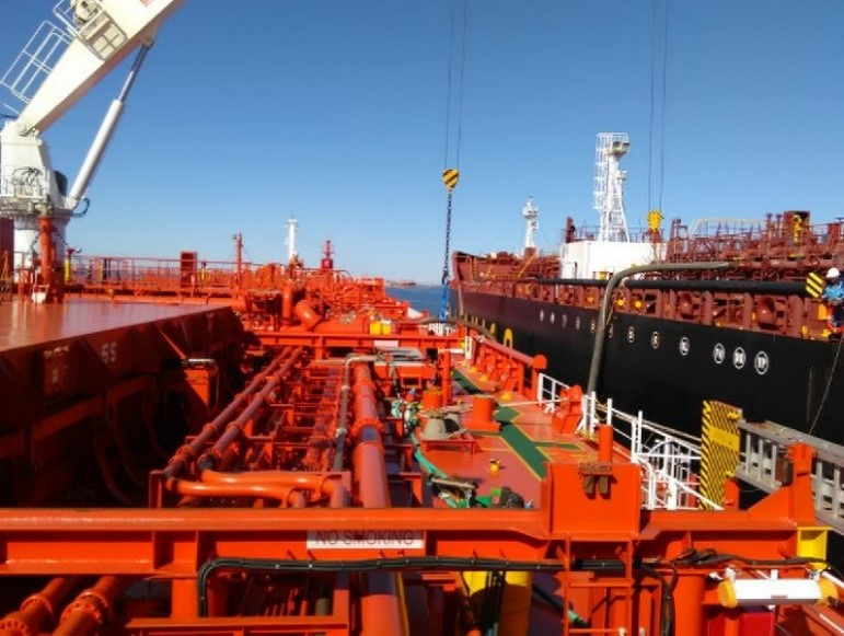 Image: Discharging CPP ship to ship on the inbound CPP voyage