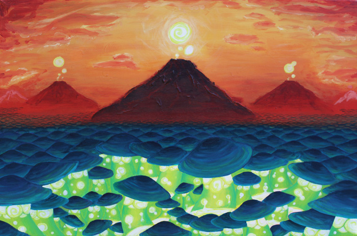 Land of Lava-lamps and Haze.  2012 [Acrylic on canvas].