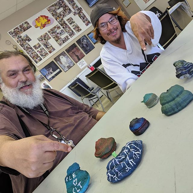 "Is that a new unit? I think so! Find out more at https://culturedays.ca/ and Look up ""The Spores of Joy"" 🍄 Unit 6 - GK KS NS WT RE KS SG . . . #sporesofjoy #bcculturedays #dudesclub #art #princegeorgenow #bcartist #sculpture #communityart"