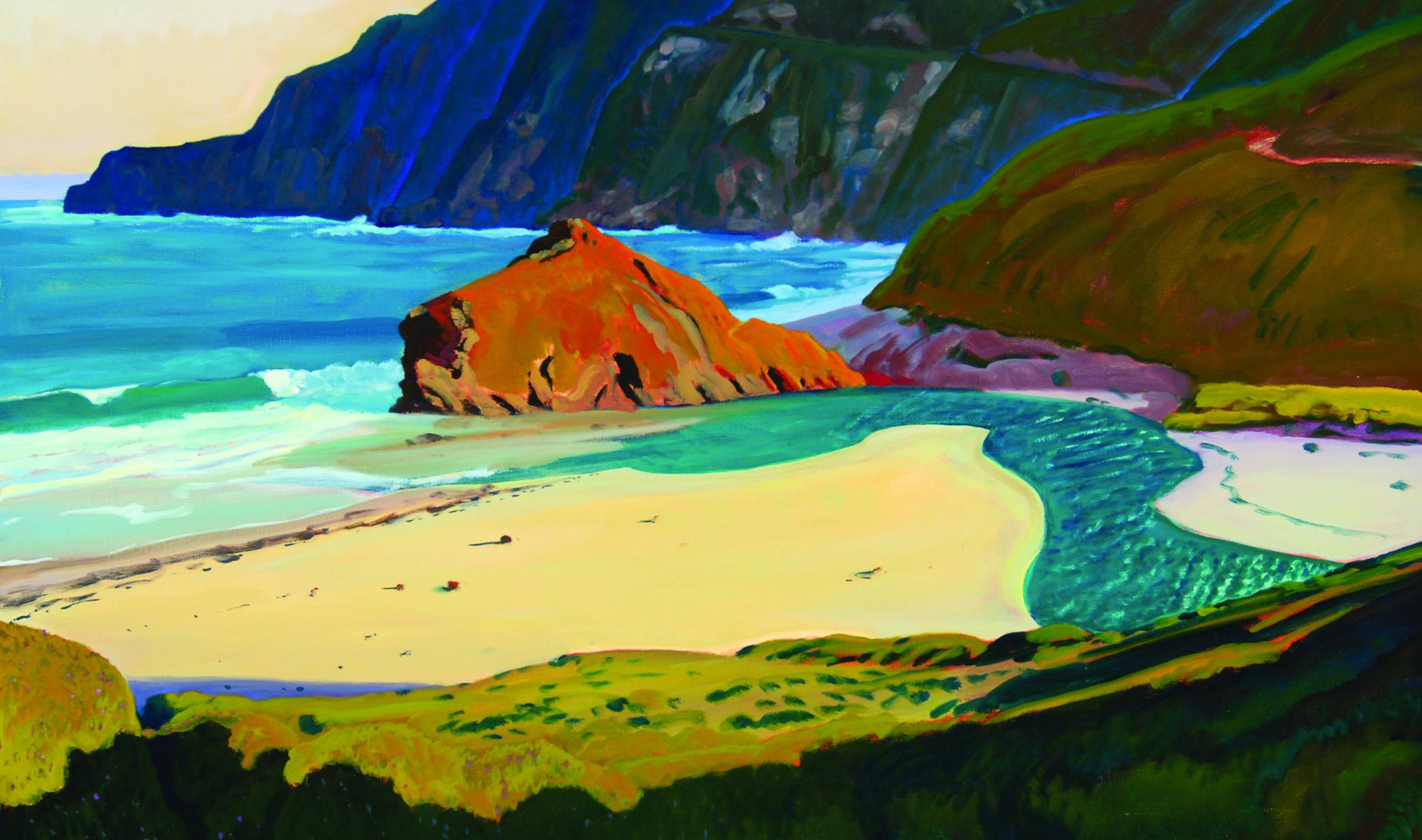 Little Sur Rivermouth, oil, by Michael Drury