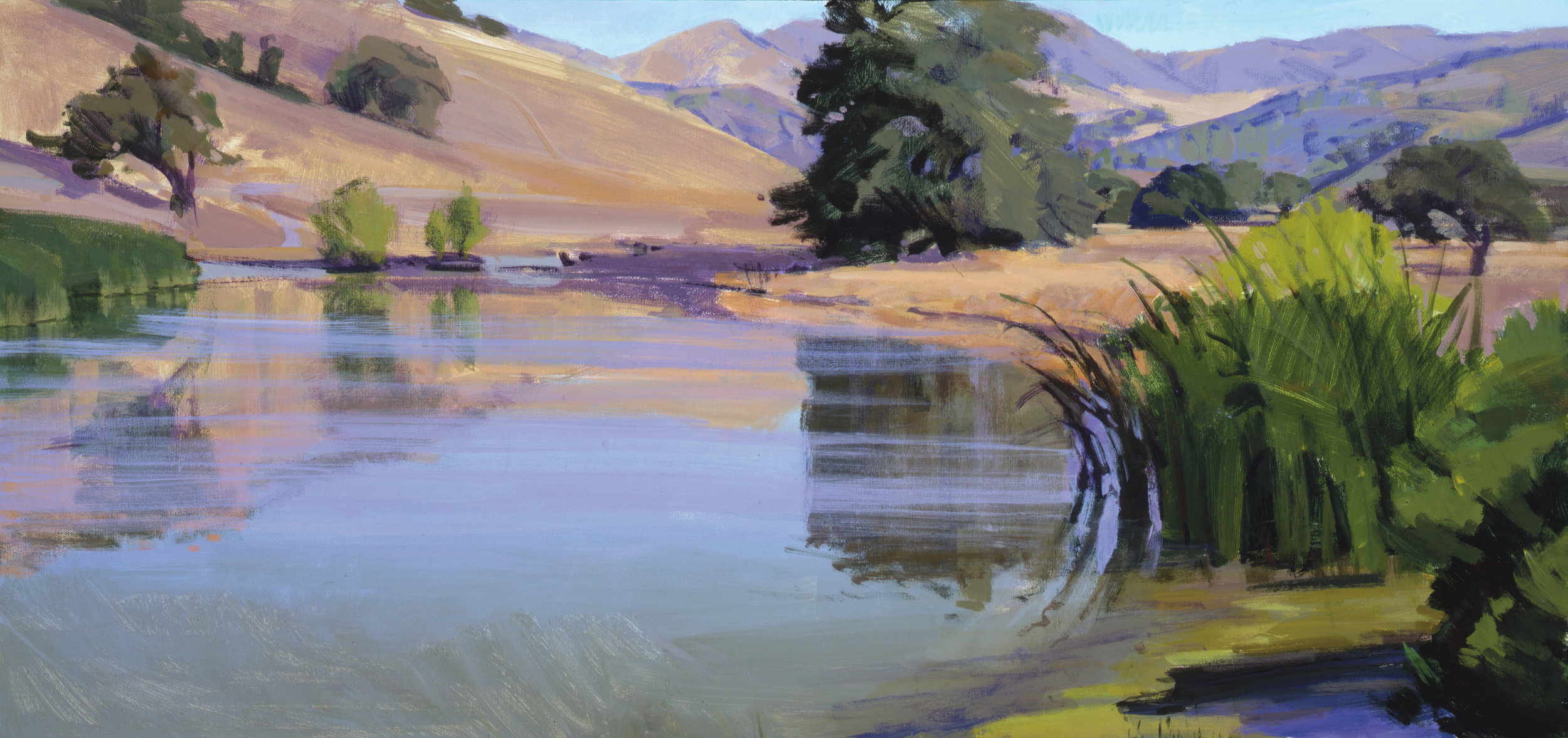 Morning on the Pond, Sedgwick, acrylic, Marcia Burtt