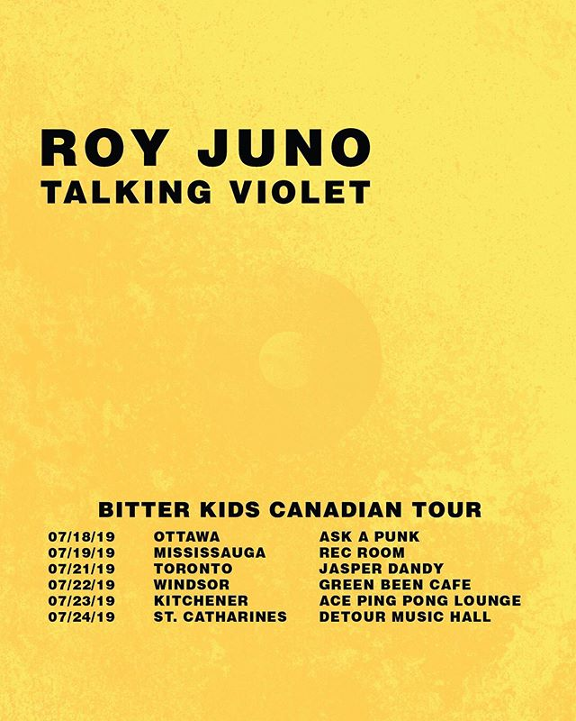 the bitter kids canadian tour kicks off on july 18th in ottawa —— absolutely thrilled to be touring in canada along w/ @talkingviolet to prep for the big fest - we'll see you in july 🤞🏽
