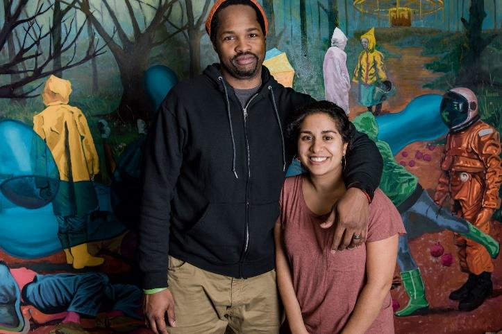 The Taylor Street Parking Garage will be painted by  Andrae and Priya Green   @andraegreenstudios   @ummmpriya