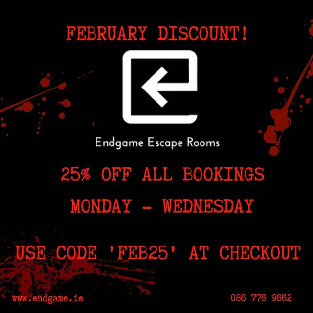 "Looking for ways to make the weekend come around faster? Pass the time in our escape rooms! For February only, get 25% off all bookings for Monday - Wednesday. Simply apply the discount code ""FEB25"" at the checkout. Are you up to the challenge?  #escaperoom #endgameescaperooms #dublin #lovindublin #dublintourism #fun #offers"