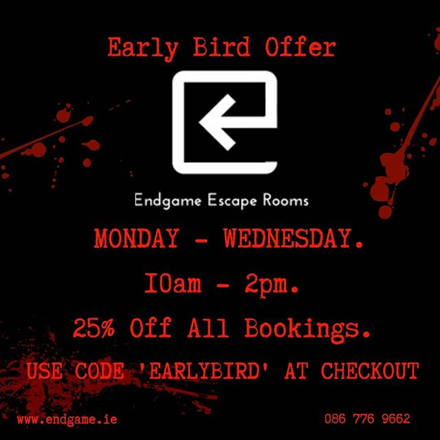 The early bird gets the worm 🐦 Use discount code 'EARLYBIRD' to save yourself some money on bookings! Visit www.endgame.ie to book your escape now!  #escaperoom #dublin #endgame #lovindublin #teambuilding #fun #endgameescaperooms #discount #deal #ireland #discoverdublin