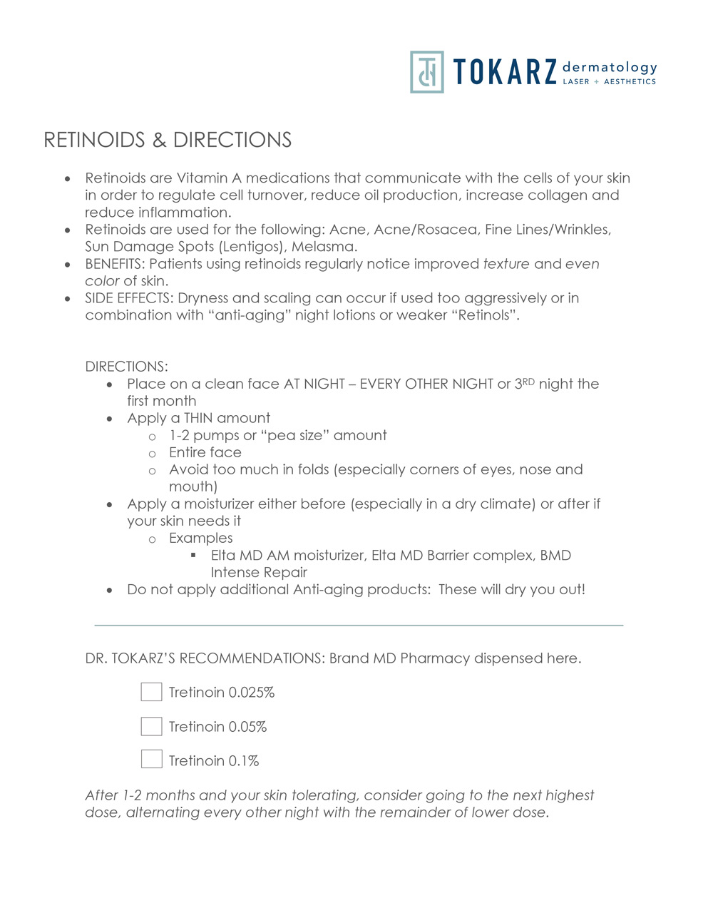 Retinoids & Directions