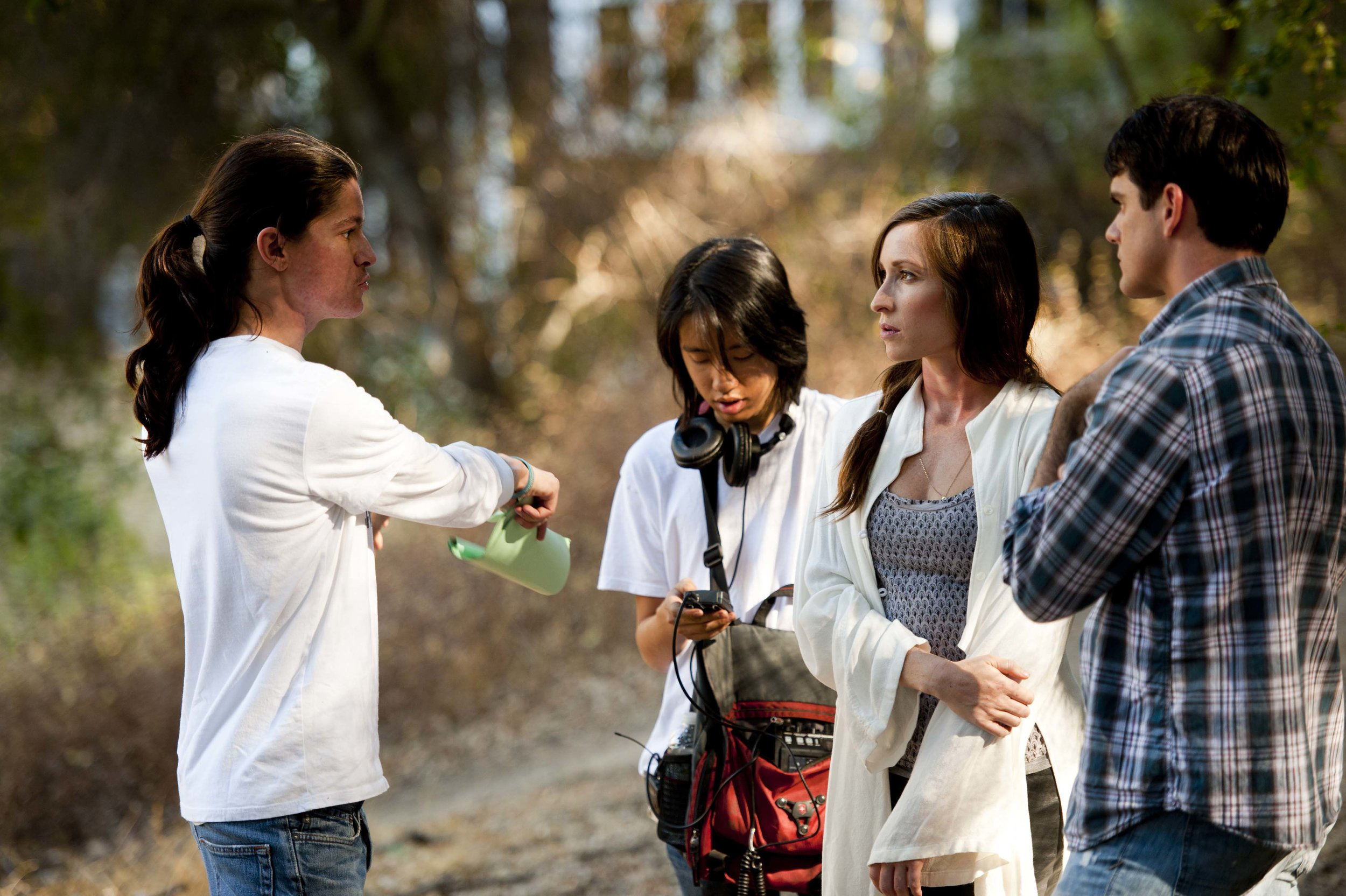 """Nicolas Wendl directing Natalie Shaw and Sean McCracken on the set of """"From The Woods"""""""
