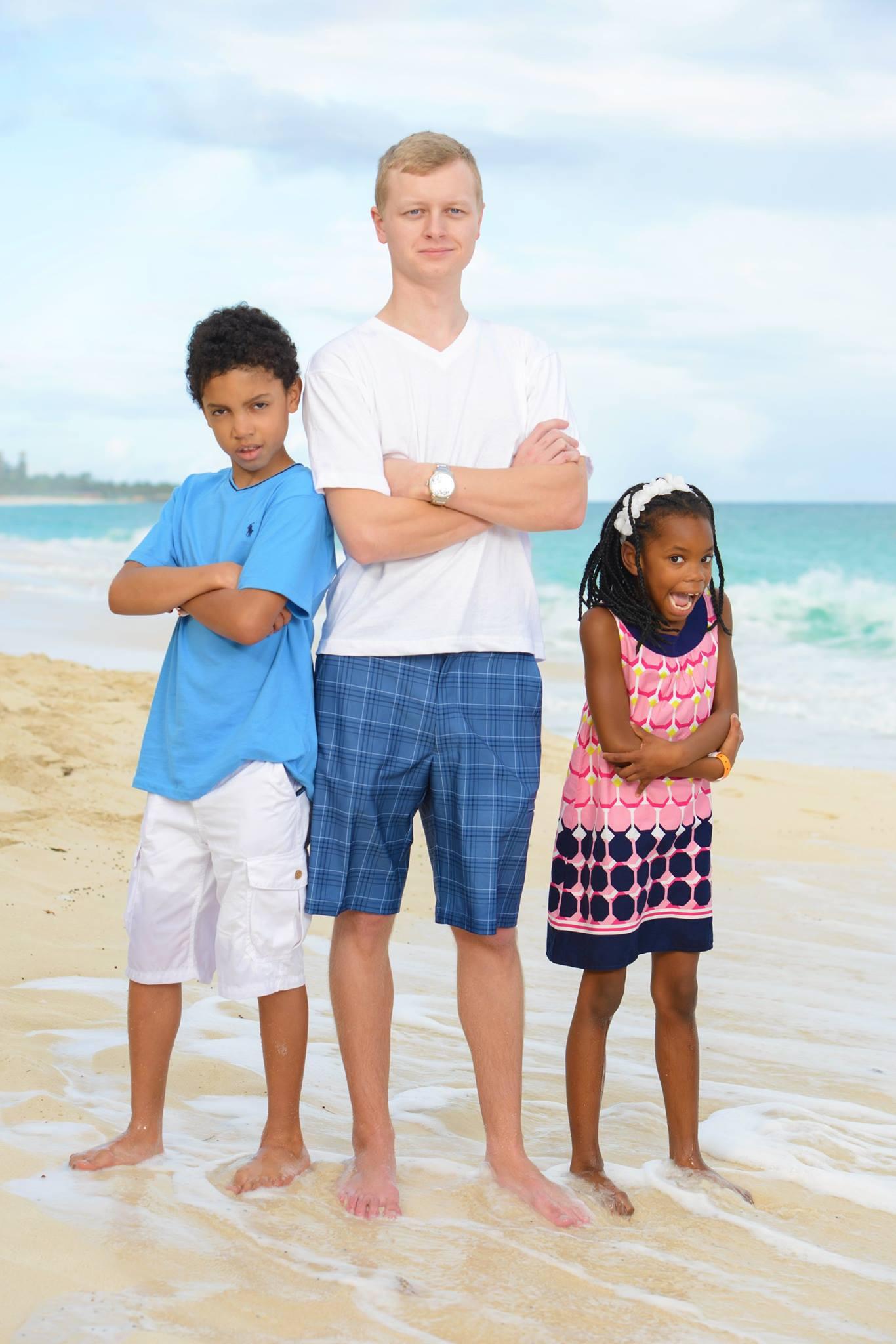 """alt=""""Kjersten and Greg's kids on the beach"""""""
