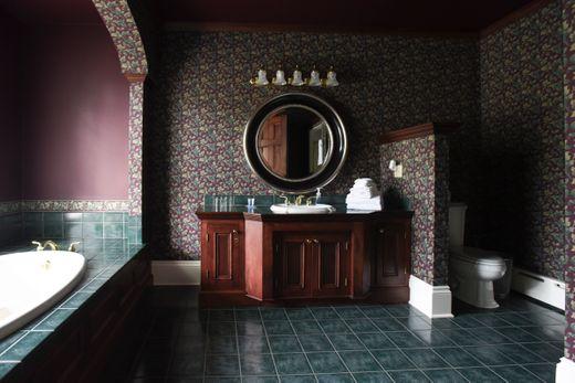"alt=""Bathroom vanity and tub in Purple Viking Room"""