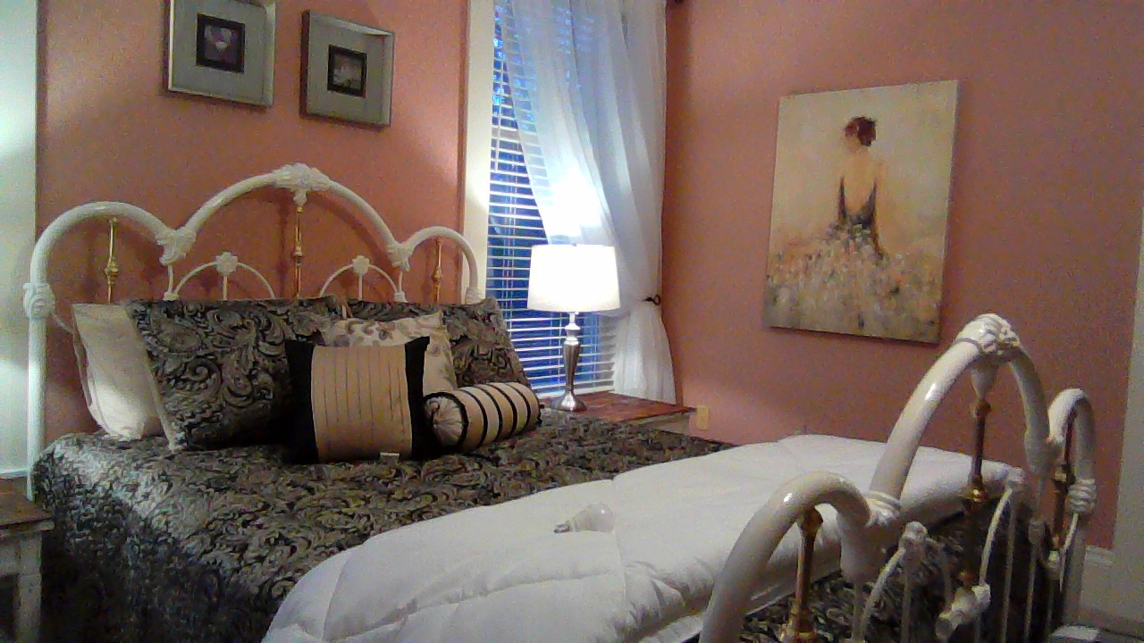 "alt=""Pink pumpkin bed from left side of bed"""