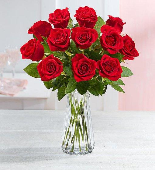 alt='One dozen long stem red roses in a clear vase'