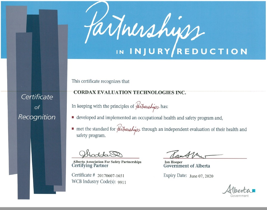 Click on the image above to see a larger version of Cordax's certificate of recognition for the Alberta provincial government's Partnerships in Injury Reduction program.