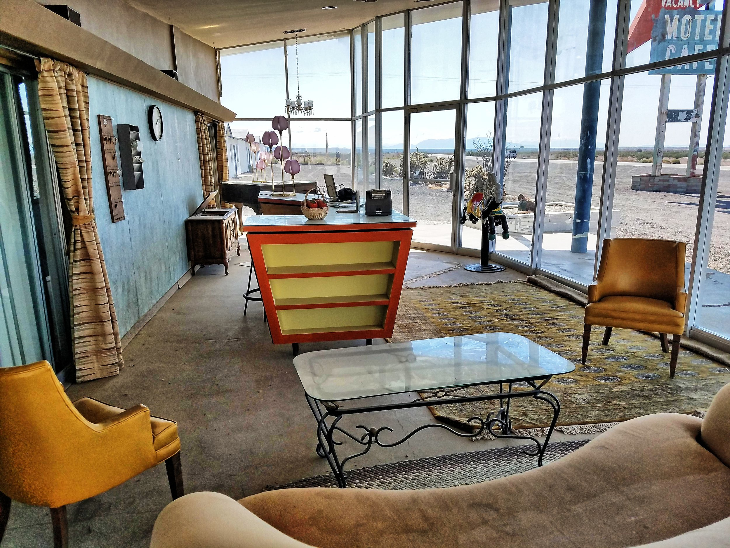 Photo taken inside the guest reception office. Because we are constantly gaining new Route 66 and Amboy merchandise, apparel, and collectible souvenirs, we plan on remodeling the interior of the guest reception office and relocating the gift shop inside.