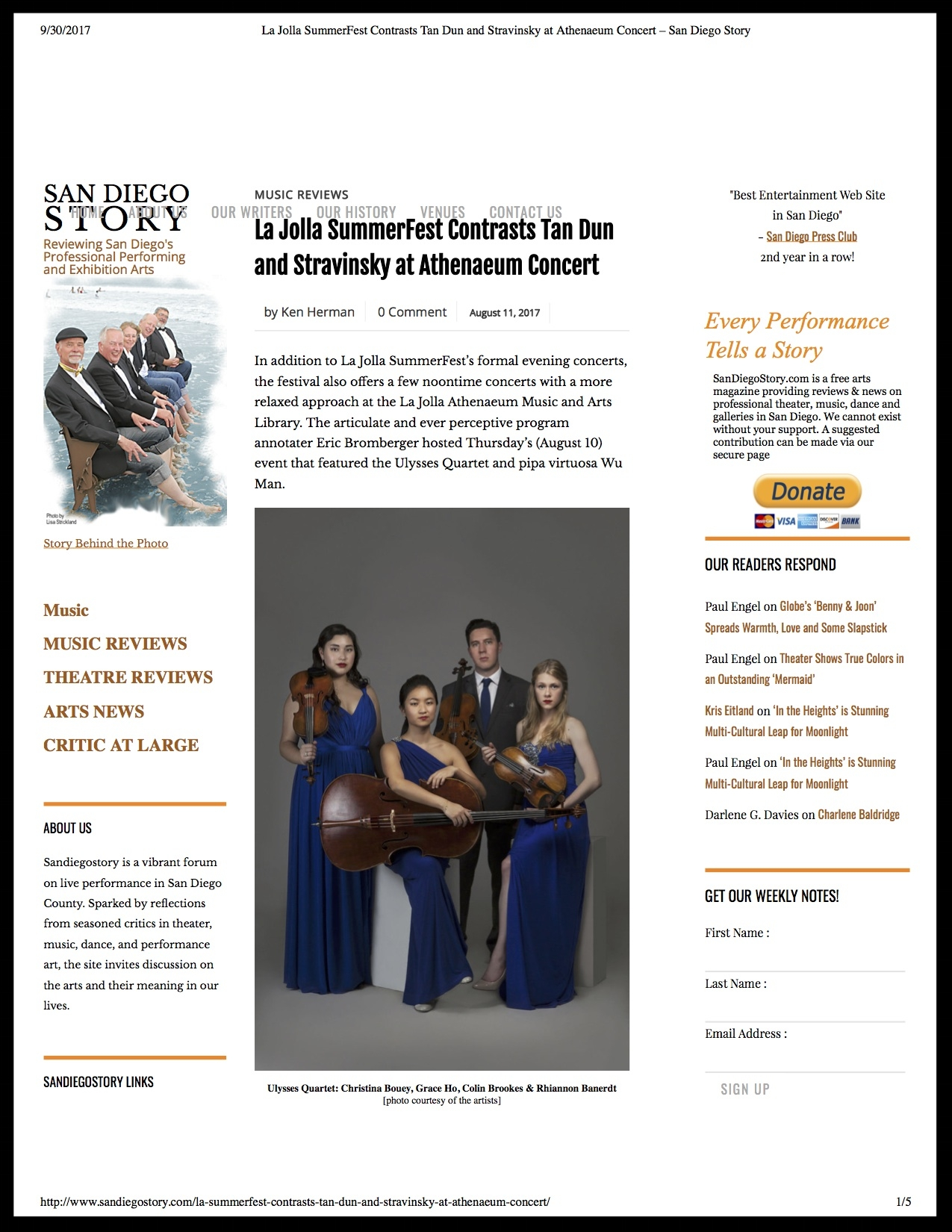 Ulysses Quartet - SanDiego Story