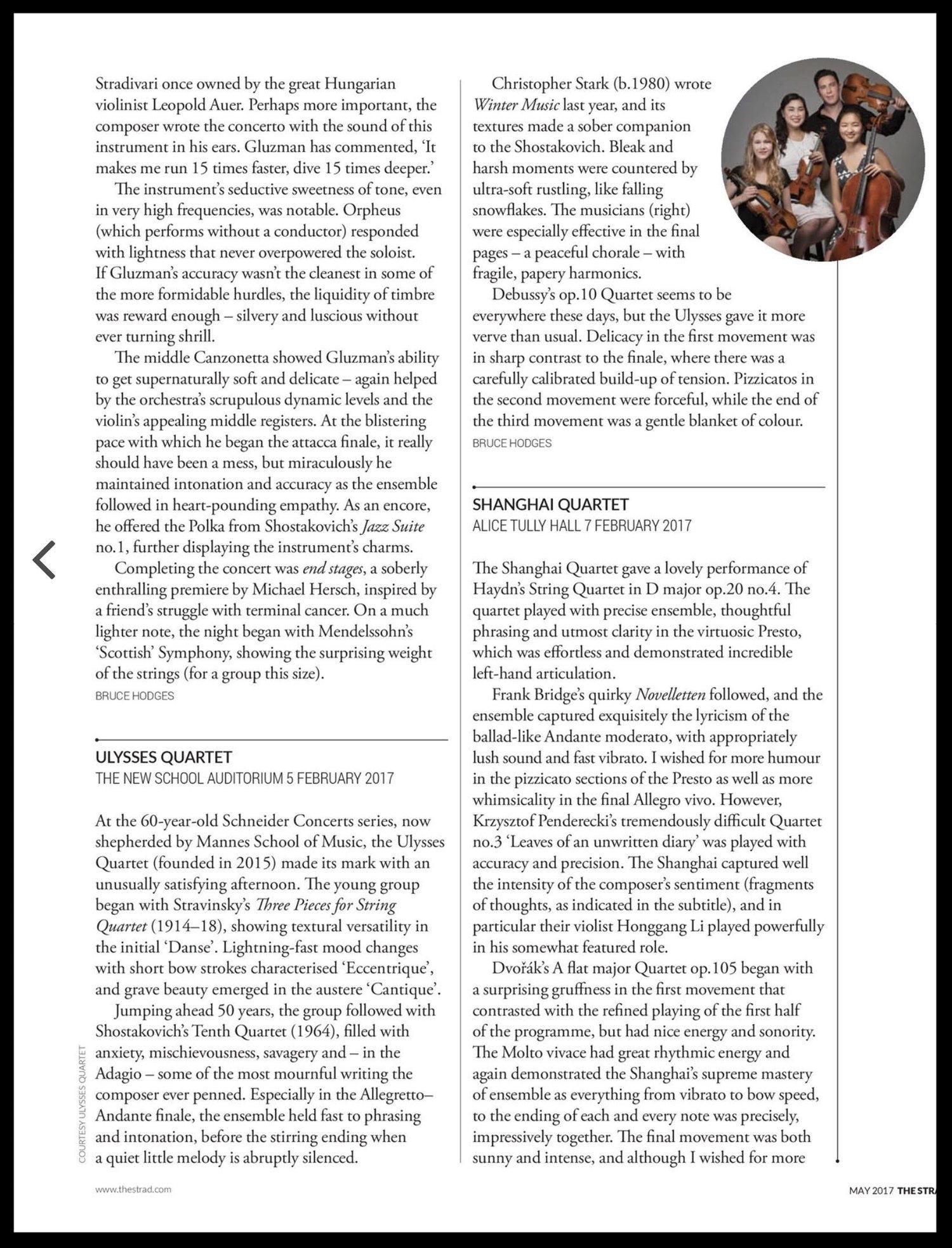 Ulysses Quartet - The Strad Magazine