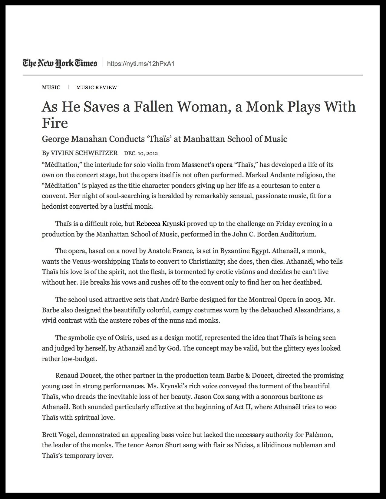 Manhattan School of Music - NYT