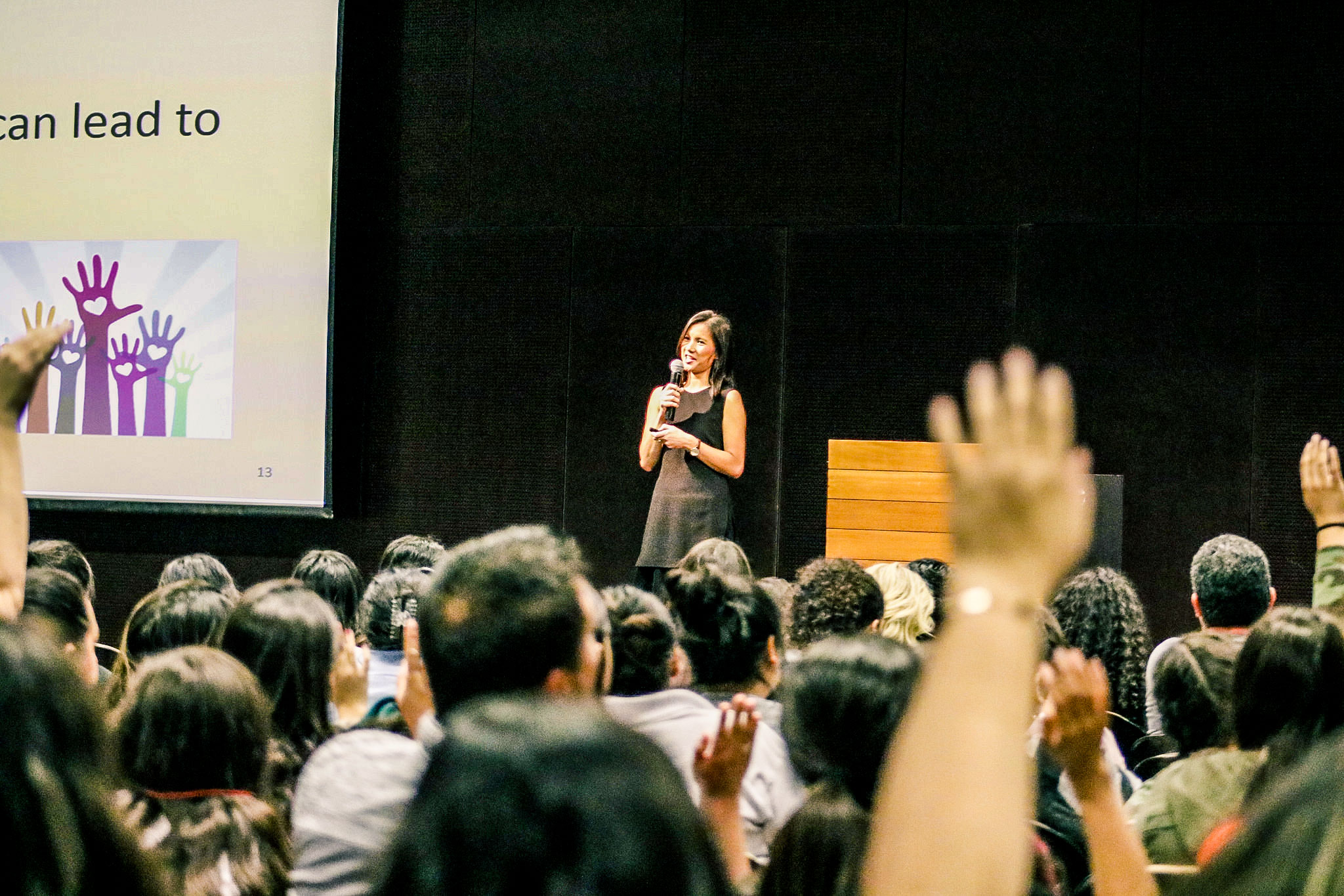 Thao Ha speaking in front of the ASU Hispanic Mother-Daughter Program.  Photo credit: Spencer Brown, EOSS Marketing