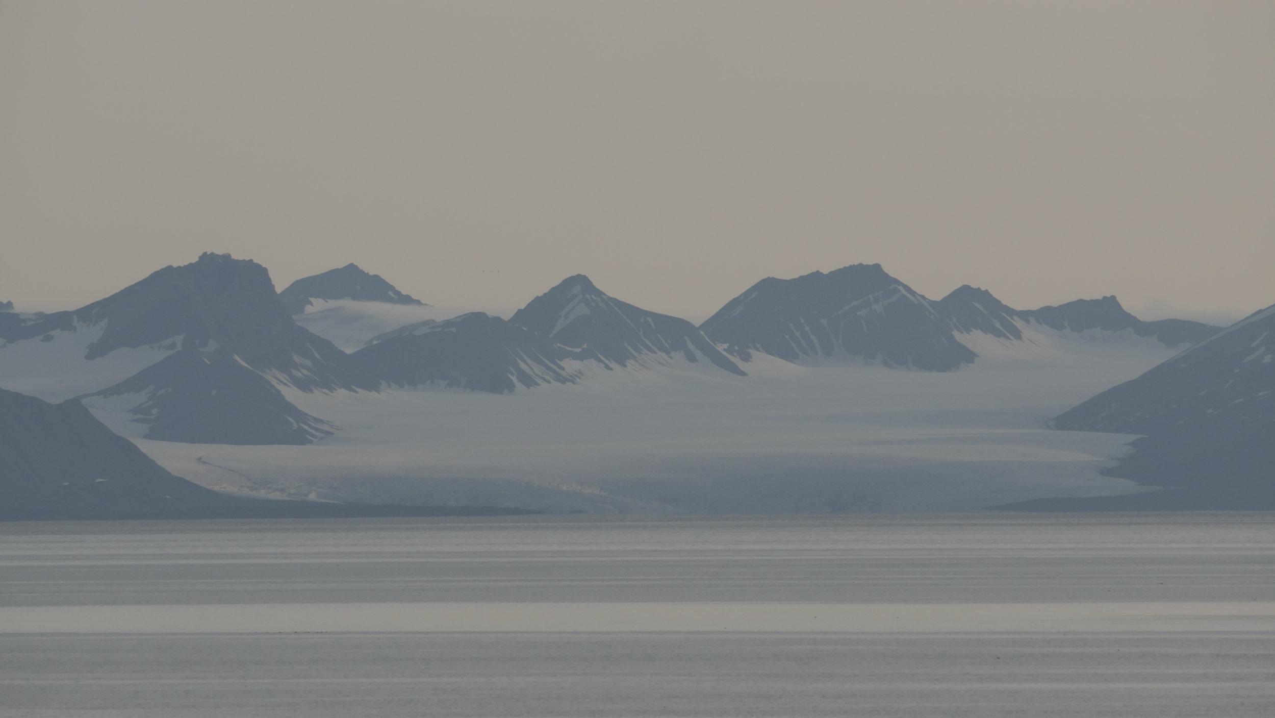 View across Isfjorden to Borebreen Glacier