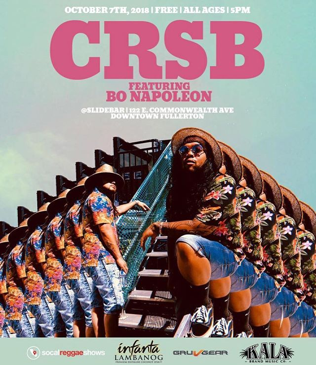Free vibes with my bros @wearecrsb this Sunday @slidebar in Fullerton. See ya'll then! 5pm 🤙🏾