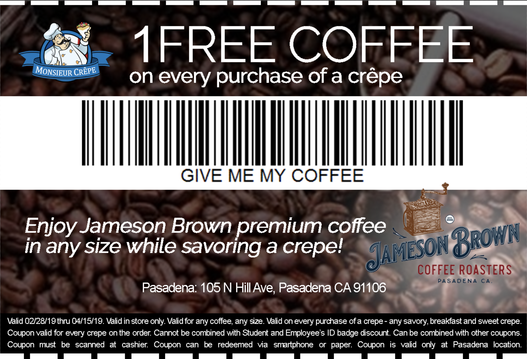 Coupon Monsieur Crepe 1 Free Coffee Promotion Discount.png