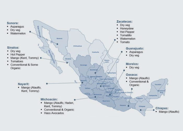 Mexico - With farms in Sonora, Sinaloa, Nayarit, Michoacán, Zacatecas, Guanajuato, Morelos, Oaxaca, Chiapas